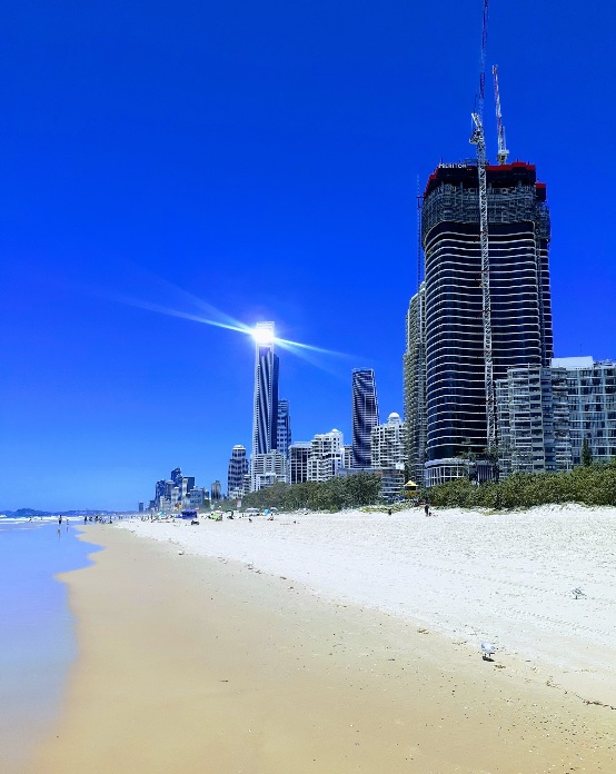 The iconic skyscrapers over the beach at Surfers Paradise on the Gold Coast in Queensland, Australlia