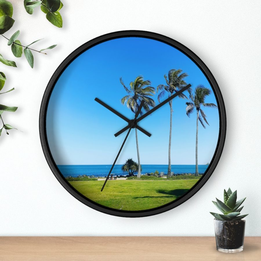 This Palm Trees Wall Clock is one of a wide range of really cool beach themed products you can buy at the Beach Scenes online store!