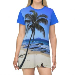 This Palm Tree Tee Shirt Dress is available to buy from the Beach Scenes online store.