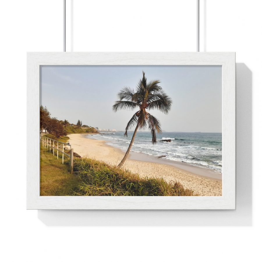 This Windswept Palm Tree at the Beach Framed Horizontal Poster is available to buy from the Beach Scenes online store.