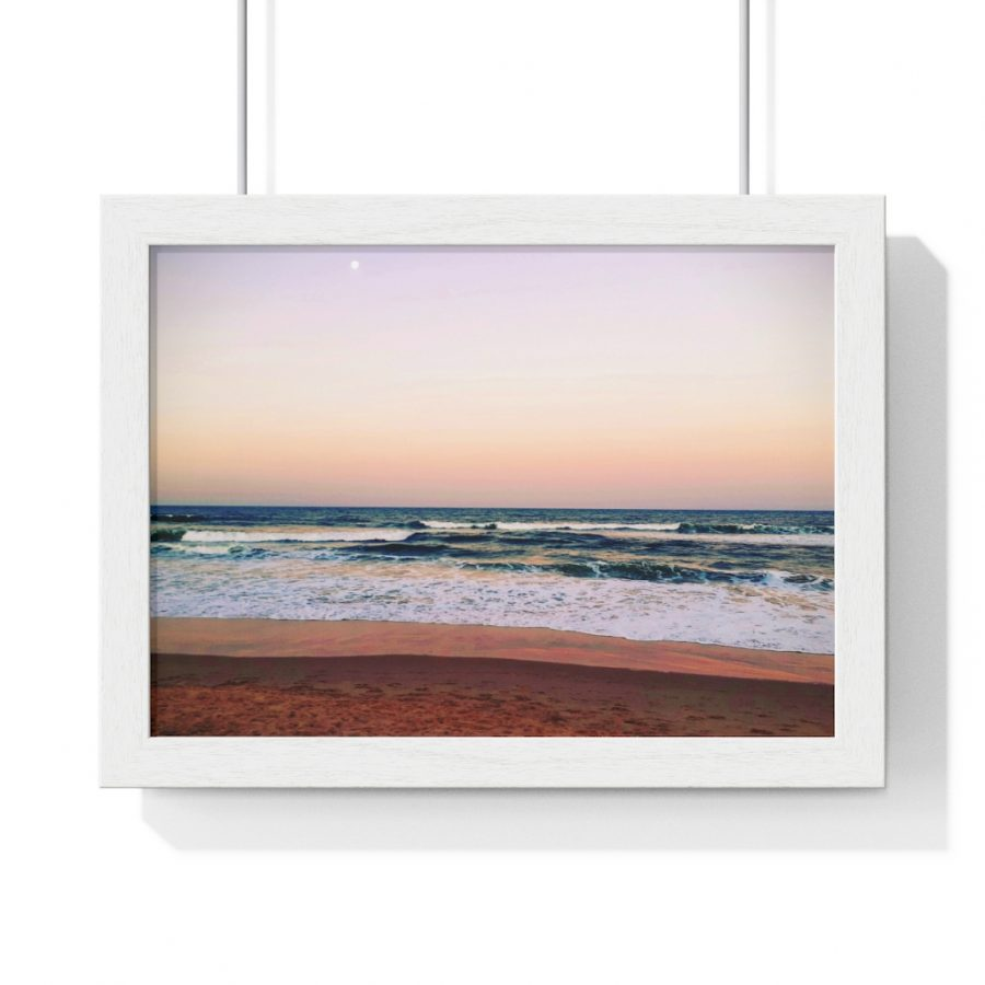 This Sunset on Beach Framed Horizontal Poster is one of a range of wall art pieces you can buy from the Beach Scenes online store.
