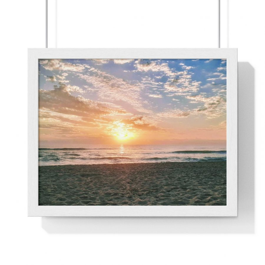 This Maroochydore Beach Sunrise Framed Horizontal Poster is available to buy from the Beach Scenes online store!