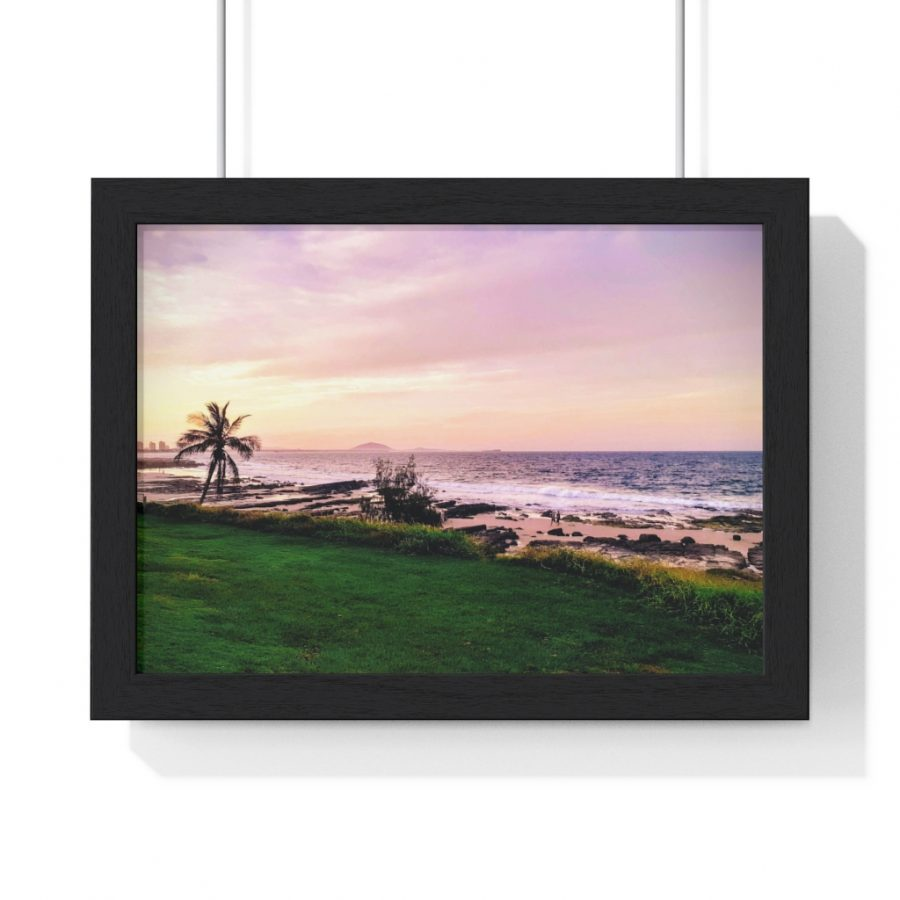 This Mooloolaba Beach Sunset Framed Horizontal Poster is available to buy from the Beach Scenes online store for your home decor.