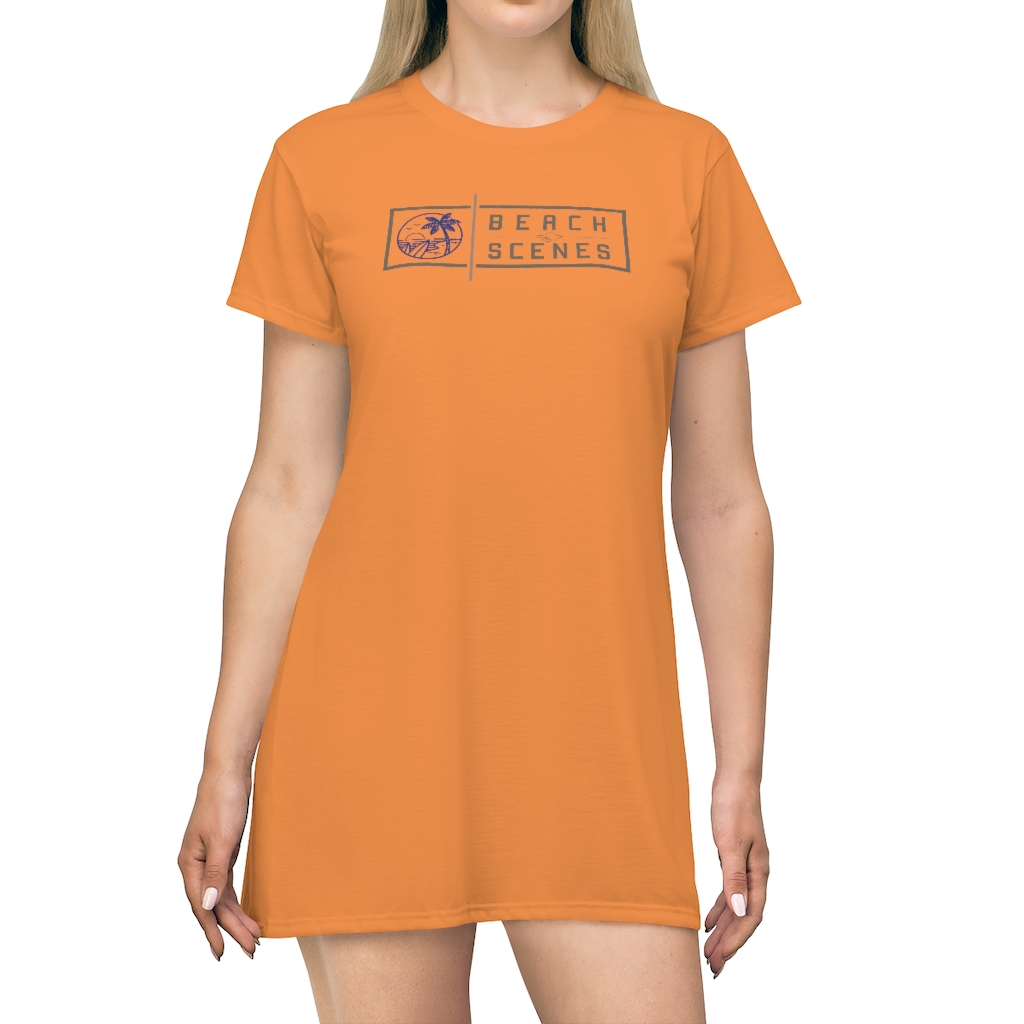 This Beach Scenes T-Shirt Dress in Burnt Sunset is available to buy from the Beach Scenes online store.