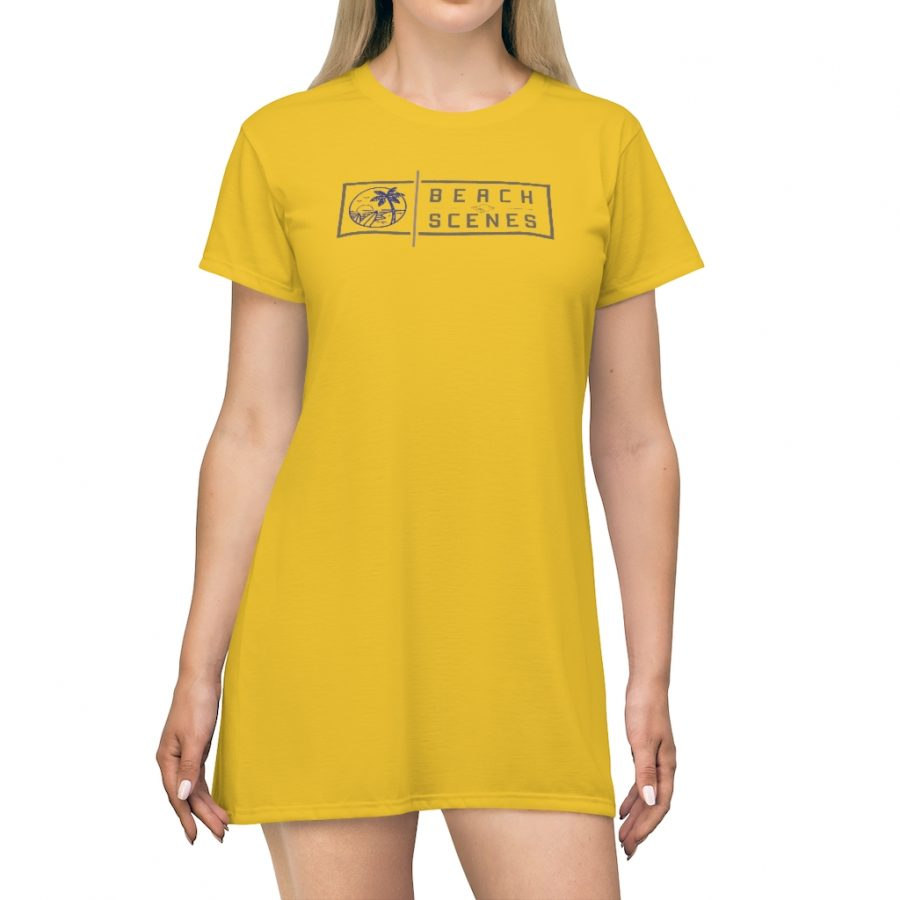 This Beach Scenes T-Shirt Dress Mello Yello is available to buy from the Beach Scenes online store.