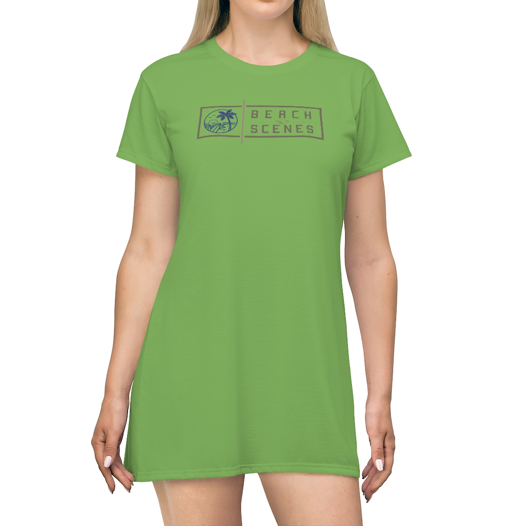 This Beach Scenes T-Shirt Dress in Apple Green is available to buy from the Beach Scenes online store.