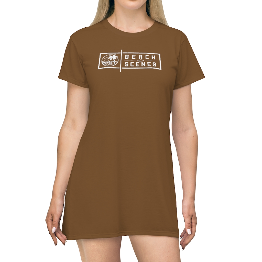 This Beach Scenes T-Shirt Dress in Pullman Brown is available to buy from the Beach Scenes online store.