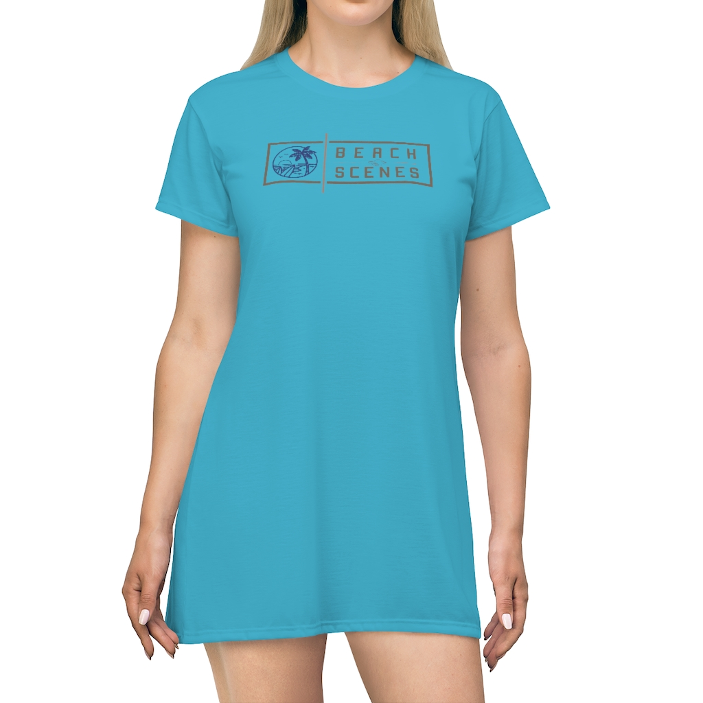 This Beach Scenes T-Shirt Dress in Ball Blue is available to buy from the Beach Scenes online store.