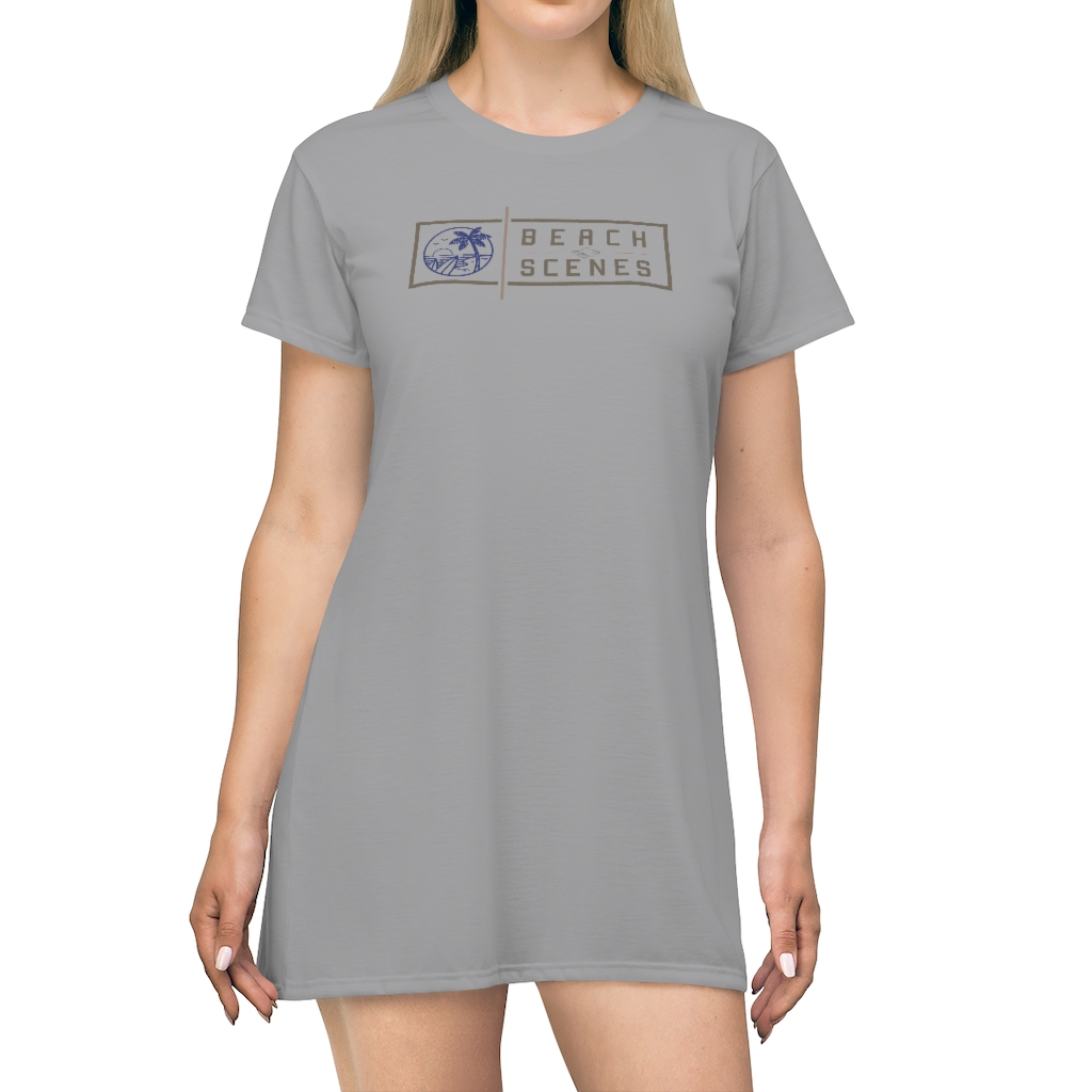 This Beach Scenes T-Shirt Dress in Spanish Grey is available to buy from the Beach Scenes online store.