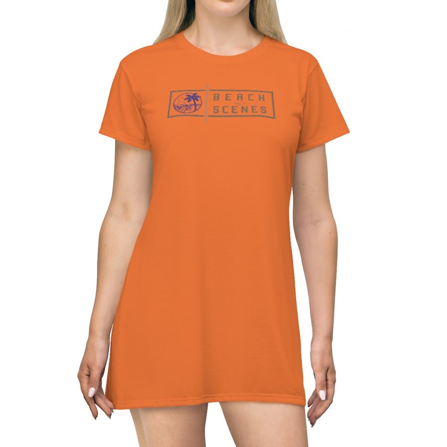 This Beach Scenes T-Shirt Dress in Halloween Orange is available to buy from the Beach Scenes online store.