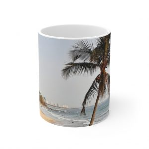 This Windswept Palm Tree Ceramic Mug is available to buy from the Beach Scenes online store.