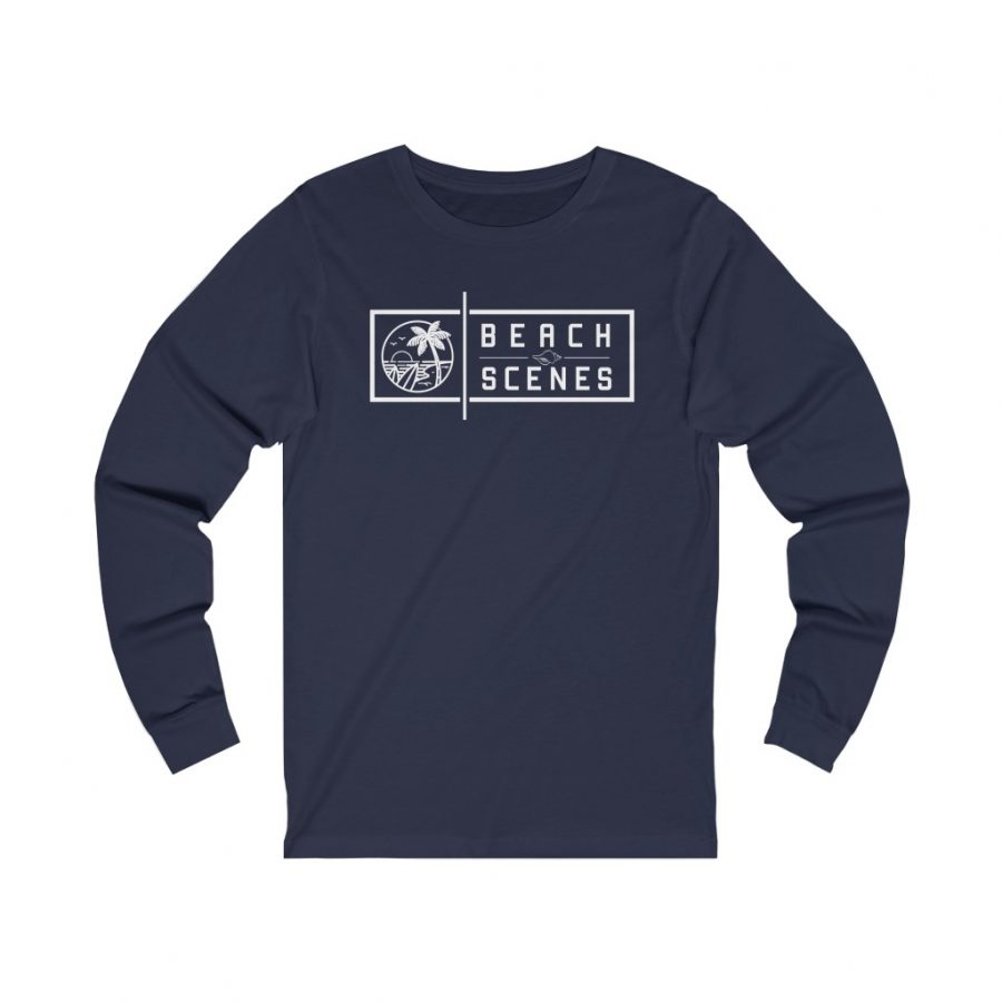 This Jersey Long Sleeve Womens Tee White Logo is available to buy from Beach Scenes online store.