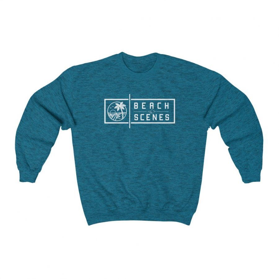 You can buy this Heavy Blend Crewneck Mens Sweatshirt White Logo at Beach Scenes online store.