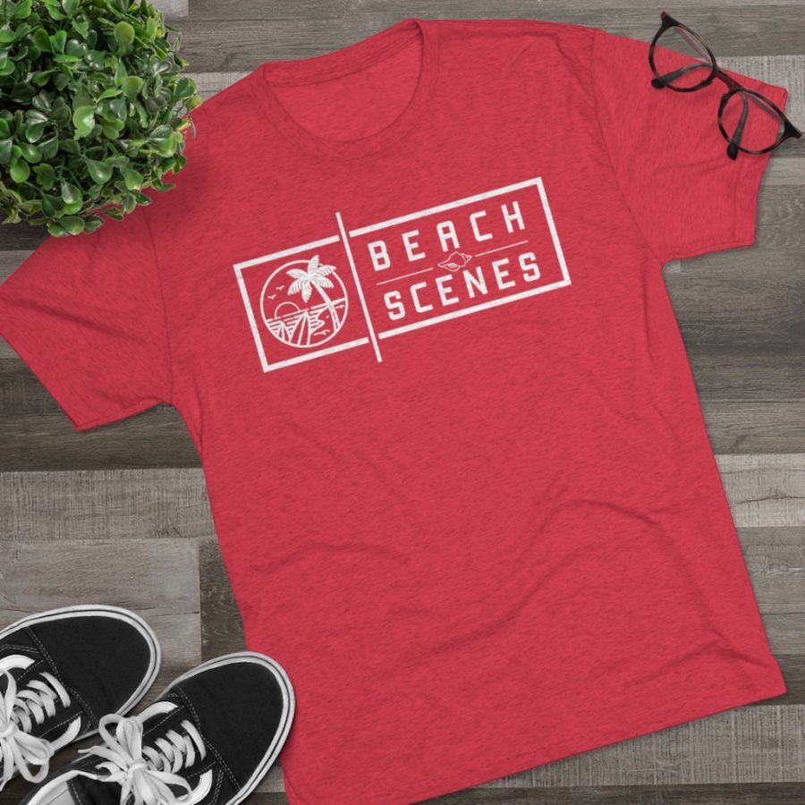 This Tri-Blend Crew Mens Tee White Logo is available to buy from Beach Scenes online store.