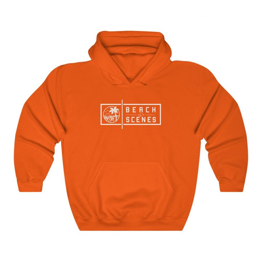 This Heavy Blend Womens Hoodie White Logo is available to buy from Beach Scenes online store.