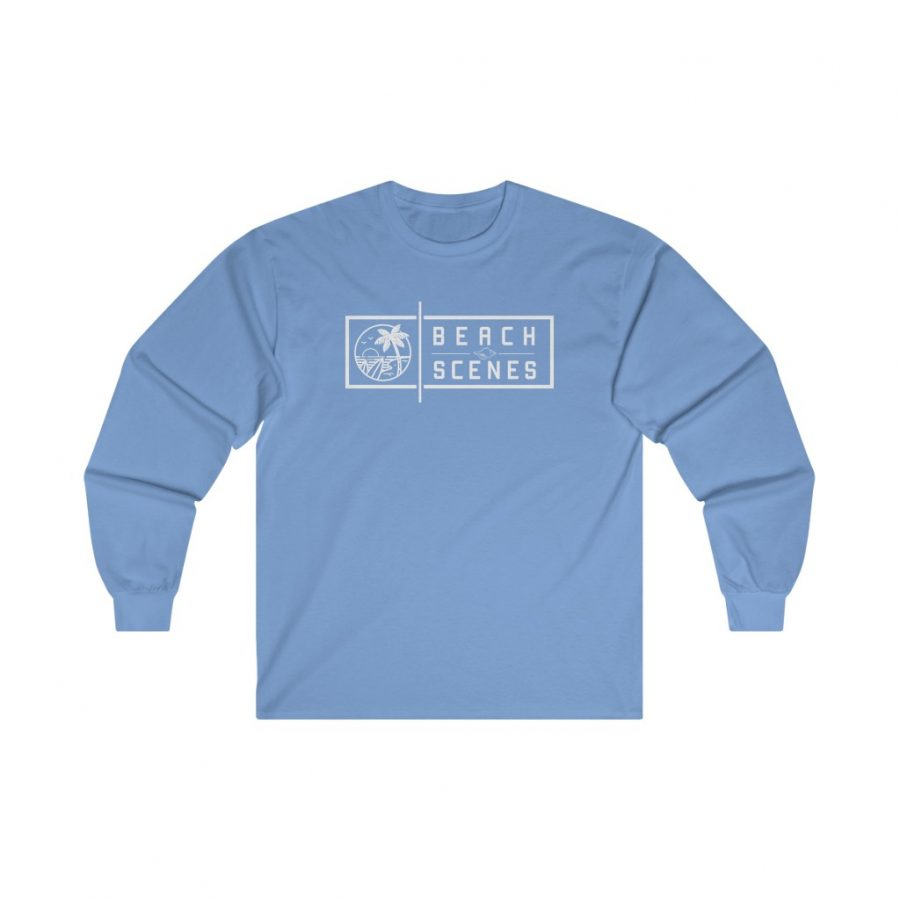 This Ultra Cotton Long Sleeve Womens Tee White Logo is available to buy from Beach Scenes online store.