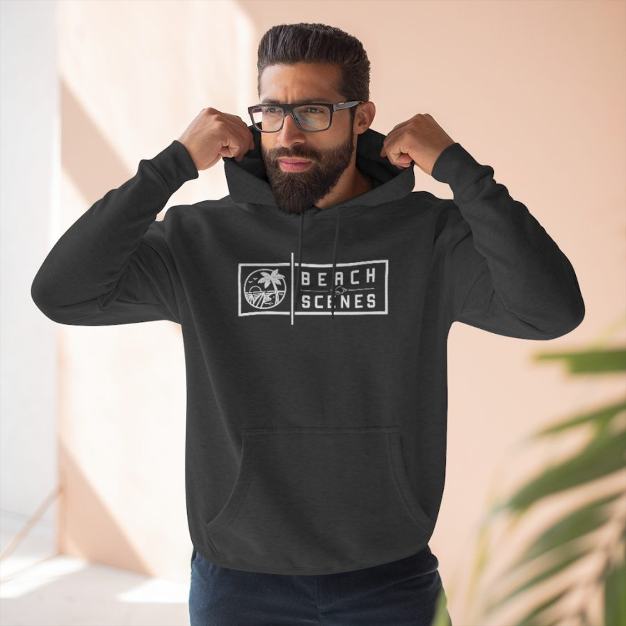 This Premium Mens Pullover Hoodie White Logo is available to buy from Beach Scenes online store.
