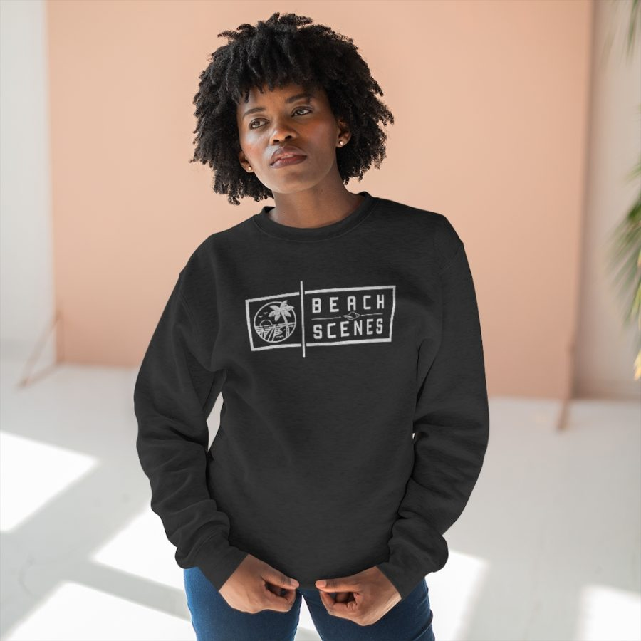 This Premium Crewneck Womens Sweatshirt White Logo is available to buy from Beach Scenes online store.