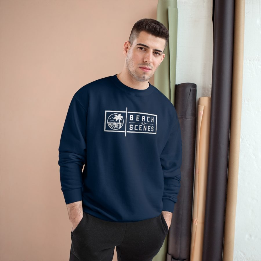 This Champion Mens Sweatshirt White Logo is available to buy from Beach Scenes online store.
