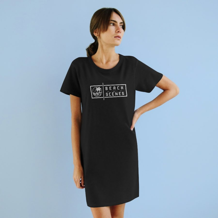 This Organic Womens T-Shirt Dress White Logo is available to buy from Beach Scenes online store.