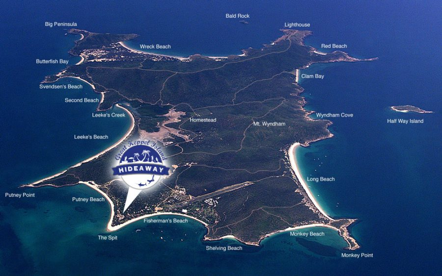 Map of the 17 beaches of Great Keppel Island