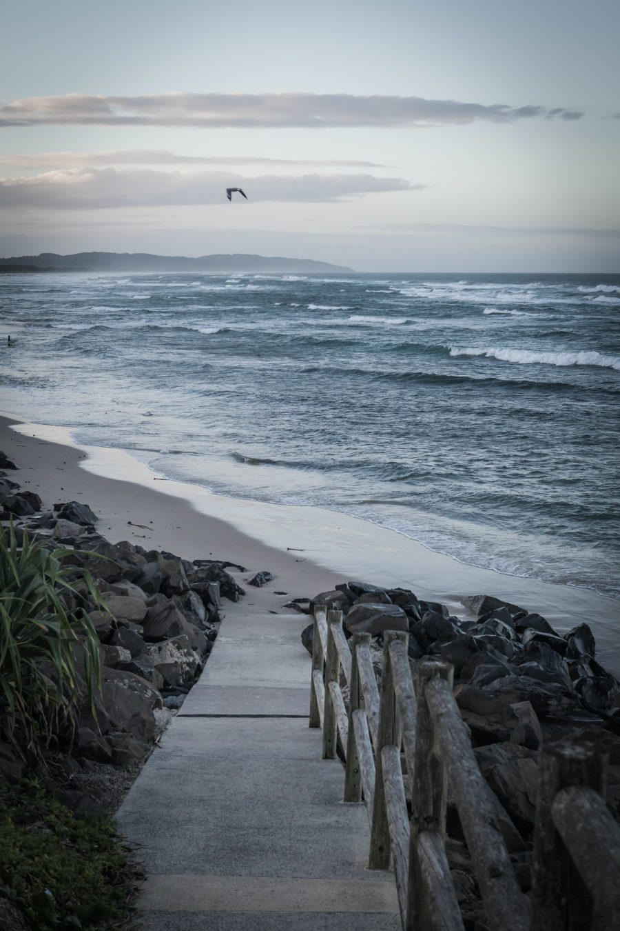 View of the steps at Lennox Head Beach