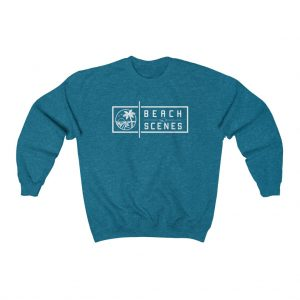 This Crewneck Mens Sweatshirt White Logo is available to buy from Beach Scenes online store.