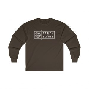 This Ultra Cotton Long Sleeve Mens Tee White Logo is available to buy from Beach Scenes online store.