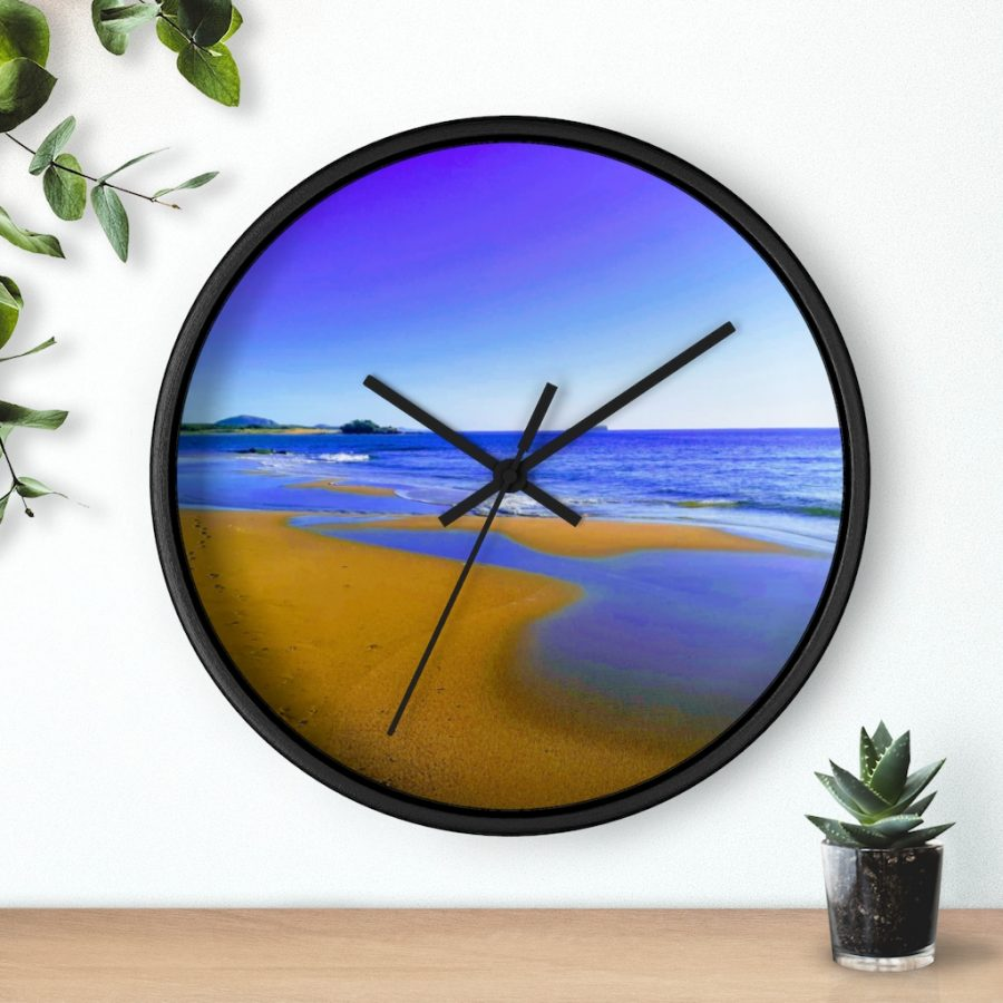This Blues at Cotton Tree Beach Wall Clock is available to buy from Beach Scenes online store.