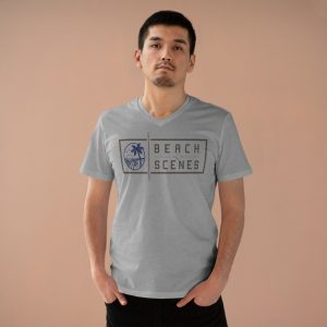 This Presenter V-neck Mens T-Shirt is available to buy from Beach Scenes online store.